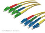 LC/APC 8° - LC/PC simplex Patchkabel 1,5m (4er Set)