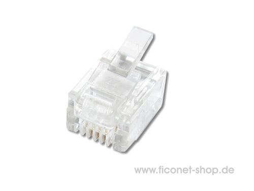 RJ11 Stecker 6/4 Cat.3 ungeschirmt